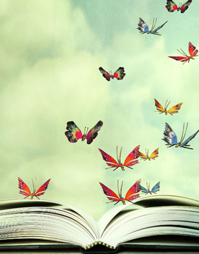 Butterflies with book
